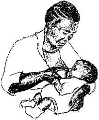 African woman breast feeding