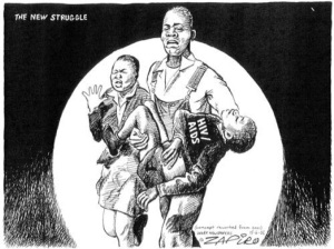Political satirist Zapiro using photo of June 16th massacre of school children as theme for a new South Africa tragedy - HIV/AIDS