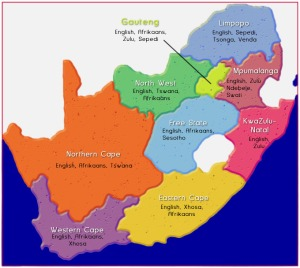 SA's 9 provinces & a rough outline of languages spoken in each.