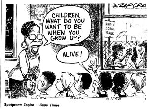 "Zapiro cartoon depicting an endemic ""culture of crime"" in South Africa"