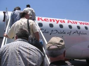 Mission trip participants boarding a plane