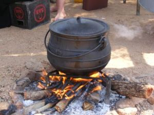 A potjie on an open fire.