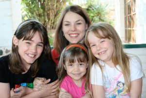 Our 4 daughters. Louisa in pink.  Erika far right.