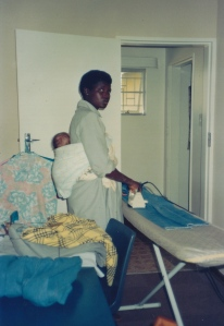 Ironing with our South African born second child, Elizabeth.