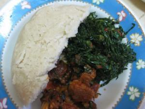 Ugali, Sukuma Wiki, plus meat.